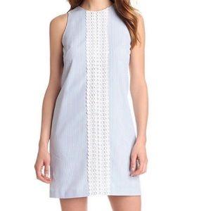 London Times Blue/White Striped Lace Midi Dress